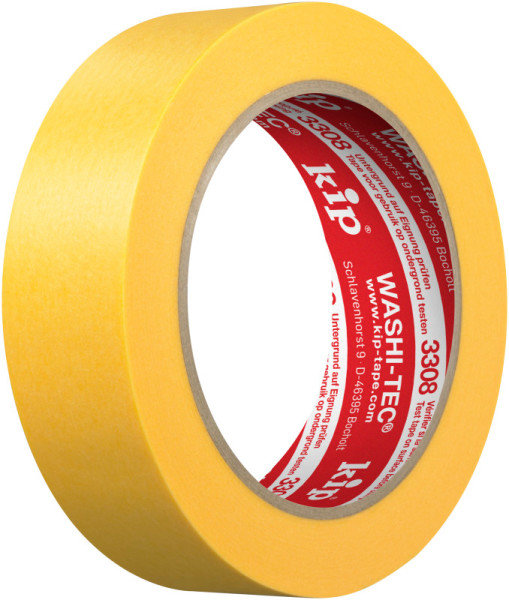 Kip 3308-30 WASHI-TEC Premium Plus Tape yellow 30mm x 50m